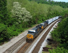 CSX 5326 and 750 (Trains & Trails) Tags: railroad spring diesel pennsylvania blossoms may tracks engine locomotive ge transporation csx 750 fayettecounty connellsville 5326 darkfuture es40dc yn3 widecab