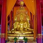 Buddha image in the replica of the Wihan at Wat Phumin, Nan,  in Muang Boran (Ancient Siam) in Samut Prakan, Thailand thumbnail