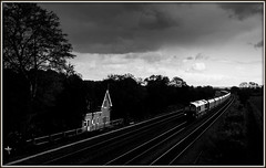The Gradient Post (david.hayes77) Tags: bw backlight mono arty shed lincolnshire contrejour glint sidelight 2015 class66 gbrf 66763 gradientpost meltonross housebythetracks