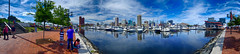 Baltimore's Inner Harbor Panorama (` Toshio ') Tags: people panorama tree water architecture clouds sailboat marina buildings harbor boat downtown cityscape maryland baltimore tourists boardwalk innerharbor toshio rustyscupper xe2 fujixe2