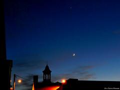 Venus over the moon (moon_hunter2014) Tags: city sky moon tower night clouds venus dusk luna crescent crescentmoon
