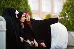 We all live in a selfie world (alfienero) Tags: iran persian veil black chador woman