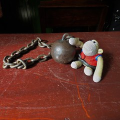 Munkeh in ball and chain (Martellotower) Tags: munkeh monkey ball chain trouble convicted