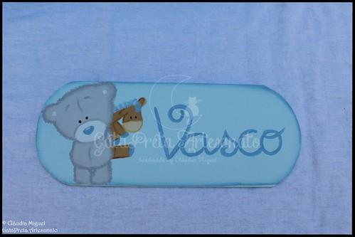 """Caixa ampla e placa de porta """"Ursinho e Girafa"""""""