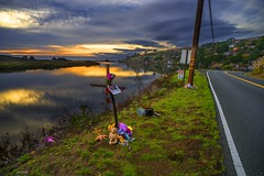 Roadside Memorial, Jenner, Sonoma County, California (Bob Dass) Tags: jenner minolta2028 roadsideshrineorhandmadememorial sonya850 sunset sonomacounty nothdr