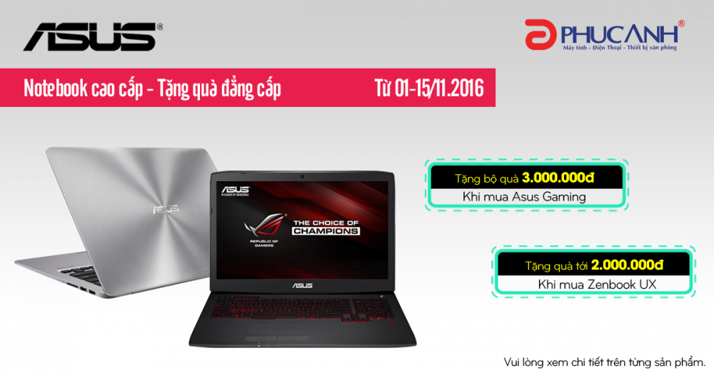 """Khuyến mại Laptop Asus – Nhận quà """"cực khủng"""" 3.000.000"""