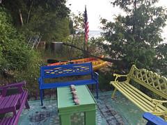 Lake Huron (soniaadammurray - OFF) Tags: digitalphotography benches colours dock lakehuron kincardine canada happybenchmonday furniture outside trees boats water flag
