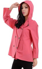 Raincoat Beauty (betrenchcoated) Tags: raincoat regenmantel regenjacke red nylon doublebreasted beautifulgirl buttons hood