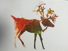 Christmas Stencil (ShaneLeviSpeed) Tags: sketch book christmas stencil raindeer deer colour sponge red yellow green orange paper