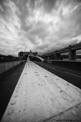 Swing Bridge Newcastle (J Tranter Photography) Tags: blackandwhite city cityscape newcastleupontyne newcastle swingbridge sky leading lines steel architecture bridge