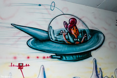 Jane Jetson (Thad Zajdowicz) Tags: 366 365 art comic artist kennyscharf wall krylon pmca pasadenamuseumofcaliforniaart zajdowicz pasadena california leica lightroom indoor inside whimsical color blue spaceship janejetson