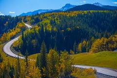 Up around the bend (stevenbulman44) Tags: mountain canon autumn fall 70200f28l lseries filter polarizer bluesky tree forest road winding outdoor landscape