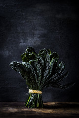 Tuscan Kale (saraghedina) Tags: foodphotography foodstyling stilllife stilllifephotography darkfoodphotography green kale superfood veganlife veganfood vertical canon 100mm bunch nopeople chiaroscuro rustic tuscan winter vegetable fresh raw