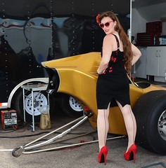 Holly_7375 (Fast an' Bulbous) Tags: long brunette hair seamed stockings red high heels stilettos shoes wiggle dress girl woman hot sexy hotty slingshot dragster car vehicle automobile nostalgia drag strip race track pits people outdoor wheel tyre santa pod dragstalgia england summer nikon d7100 gimp sunlasses legs beauty pinup model nylons
