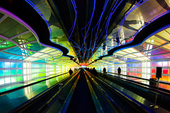 Sky's the Limit (Thomas Hawk) Tags: america chicago illinois michaelhayden ohareinternationalairport skysthelimit usa unitedairlines unitedstates unitedstatesofamerica airport neon fav10 fav25 fav50 fav100