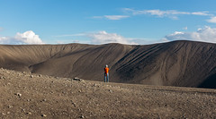 Hverfjall Crater (Daniel Regner) Tags: green hverfjall crater lake myvatn fujifilm x100t handheld iceland travel tourism trip road ring daniel regner digital color summer july 2016 awesome beautiful vacation volcano volcanic hiking hikes places world photography portrait girl standing backpack cinder cone europe