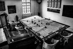 Duxford Fighter Control Room. (aquanout) Tags: chairs war interior chart map clock