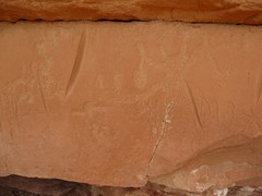 Petroglyphs and grooves