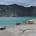 Raggiungo la riva della laguna Quilotoa, 400m più basso