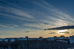 Sunset over Kuntsevo (Serge.Bystro) Tags: sunset sky plane moscow  kuntsevo 2013   westernadministrativeokrug
