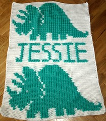 Dinosaur Blanket for Jessie (dochol) Tags: baby chart cute wool dinosaur handmade crafts name crochet graph yarn blanket afghan bebe alphabet manta personalised croche babyname crochethooks