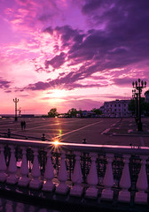 Deep purple (Sveta_leo) Tags: street sunset sky nature skyline clouds sunrise square landscape dawn streetlight purple streetlamp horizon lensflare flare rays railing twilights
