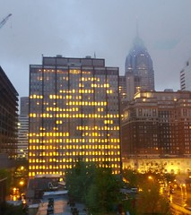philadelphia twilight fog (freedom333) Tags: city morning sky urban usa philadelphia fog buildings golden spring twilight glow cloudy pennsylvania warmth