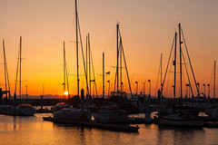 Masts (GavinZ) Tags: ocean travel sunset sea sun water silhouette japan marina pier boat asia ship sail mast wakayama