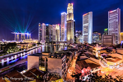 Bedazzled (t3cnica) Tags: show city blue light urban architecture marina wonder bay landscapes singapore long exposure district quay full hour laser cbd sands lightshow financial clarke