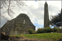 Waterford 082 (catb -) Tags: ireland tower church stone ruins cathedral waterford ardmore engravings roundtower
