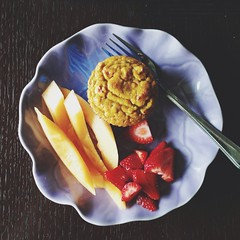 Friday breakfast (poopoorama) Tags: food breakfast strawberry muffin cantaloupe iphone afterlight uploaded:by=flickrmobile flickriosapp:filter=nofilter