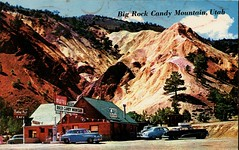 Gas Station & Trading Post, Big Rock Candy Mountain, Utah (SwellMap) Tags: auto car architecture sedan vintage advertising design pc 60s automobile driving fifties postcard ad suburbia style kitsch retro gasstation advertisement truckstop nostalgia chrome advert americana 50s roadside googie populuxe sixties babyboomer consumer coldwar servicestation midcentury spaceage atomicage