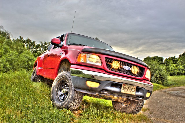red ford truck 4x4 f150 fordf150