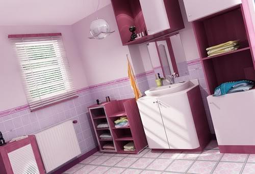 Banheiro decorado rosa