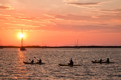 Returning Kayakers (Erin Claassen Photography) Tags: ocean travel sunset sea summer vacation orange beach water sunshine sailboat mexico boats dock kayak pacific tourist bajacalifornia bajacaliforniasur yachts lapaz seaofcortez bcs kayakers malecn gulfofcalifornia travelphotography lapazbcs