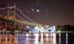 RFK in October (Jakub Wil.) Tags: park new york city nyc bridge trees ny reflection water colors night landscape photo nikon shot baseball time pic queens astoria dslr hue asbstract d5100