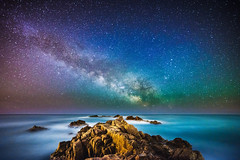 Milky Way @ Esculls de Canyet I (modesrodriguez) Tags: longexposure nightphotography seascape stars spain nightscape catalunya universe milkyway