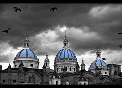 Blue Domes of the Cuena Cathedral (Sam Antonio Photography) Tags: cathedral cuenca religion architecture birds travel ecuador southamerica sky samantoniophotography blue dome landmark selective color clouds church faith prayer black white expat retire vacation holiday
