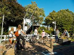 22-Cyclists waiting for Draw Bridge to close in Broek in Waterland -2-  25Sep16 (1 of 1) (md2399photos) Tags: broekinwaterland hollandholiday25sep16 irenehoevetouristshop monnickendam