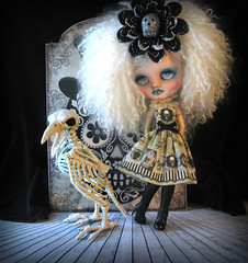 Antigone and her little pet (Pink Anemone) Tags: icy doll blythe custom white mohair spooky scary halloween bones ghost girl goth artemiscustom