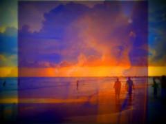 Memories (soniaadammurray - OFF) Tags: digitalphotography manipulated experimental diptych abstract memories beach sunset selfportrait people sea sand nature