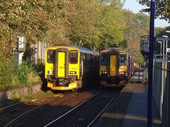 150232, 153377 & 153368 Penryn (1) (Marky7890) Tags: gwr 153368 class153 2f70 supersprinter penryn railway station cornwall train 153377 class150 sprinter 150232 maritimeline 2t69