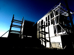 The Framework (Steve Taylor (Photography)) Tags: framework architecture building construction fence chainlink scaffold scaffolding black blue white contrast stark concrete metal nz newzealand southisland canterbury christchurch city cbd silhouette shadow perspective sunny sunshine