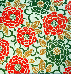 Kyoto yuzen washi 8 (tengds) Tags: handmadepaper japanesepaper yuzenwashi kyotoyuzen washi chiyogami flowers chrysanthemum leaves orange green tan tengds