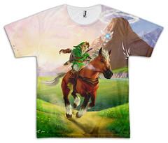The Legend of Zelda: Ocarina of Time Link and Epona sublimated T-shirt (Nerdemia) Tags: zelda link epona