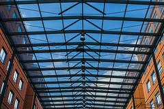 Le ciel est notre toit (aurelcaux) Tags: abstract architecture urban btiment structure abstrait diagonale gomtrique infrastructure lignes motif poutre grey lyon city cityscape modern extrieur toit roof sky ciel clouds nuages bleu blue orange