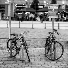 Two Bikes (Geoff France) Tags: mono monochrome blackandwhite street streetphotography urban lowry salford salfordquays people outdoor market streetmarket