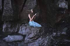 Out of the blue (II) (foteinizaglara) Tags: mermaid fairytales magic foteinizaglara zaglara dark outdoors sea water ocean rocks pearls blue