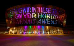 Wales Millennium Centre (technodean2000) Tags: south wales uk millennium centre cardiff bay lights red nikon d610 lightroom night text hall amusement park outdoor people