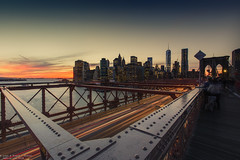Rush Hour, NYC (Dennis van Dijk) Tags: sky bridge brooklyn manhattan scrapers nyc new york city scape travel canon wanderer wanderlust sunset blue le long exposure rush hour usa america beauty view